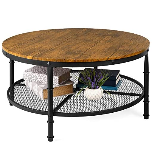 Farmhouse Coffee Tables Best Choice Products 2-Tier 35.5in Round Industrial Coffee Table, Rustic Steel Accent Side Table for Living Room, w… farmhouse coffee tables