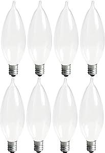 GE Lighting Soft White 66108 60-Watt, 640-Lumen Bent Tip Light Bulb with Candelabra Base, 8-Pack