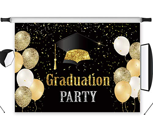 LB Graduation Party Backdrops Class of 2019 Photo Backdrop 7x5ft Vinyl Gold Balloon Background for Senior Prom Party Decoration Banner Photoshoot Studio Props -