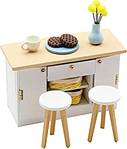 Pocohouze 1/18 DIY Dollhouse Miniature Set Mini Dolls House Dining Room Furniture and Accessories Crafts Project for Beginner Adults Easy Assembly Kit (Kitchen Counter Stools)