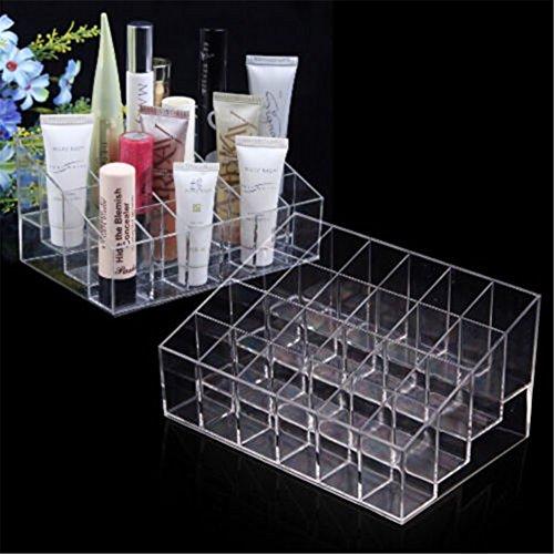 Interesting® Acrílico 24 del soporte organizador cosmético maquillaje del caso del soporte de exhibición Caja de almacenamiento