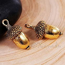 OutletBestSelling Pendants Beads Bracelet Acorn Charm 23mm Antiqued Gold Autumn Pendants 20pcs