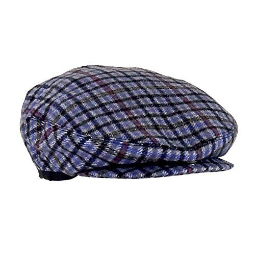 Wool Plaid Lined Ivy Touring Cap w/ Snap Brim, Retro Driving Hat, One (Lined Plaid Ivy Cap)