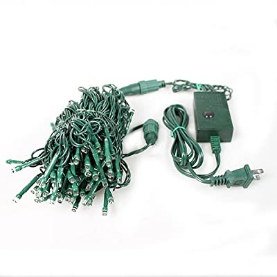 LEDwholesalers Linkable 100-LED 33-Feet String Light with Multi-Function Controller, Green Wire, X065