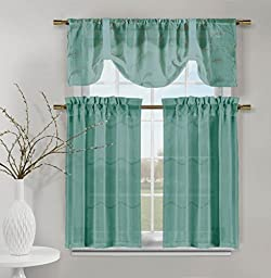 Videira Gold Leaf Embroidery Kitchen Curtain Set Valance Tiers (Teal)