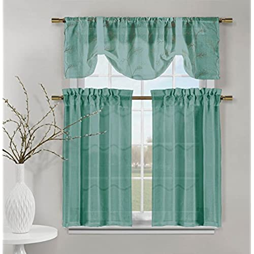 Videira Gold Leaf Embroidery Kitchen Curtain Set Valance Tiers Teal