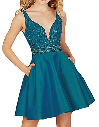 ds Sequined Prom Homecoming Dress with Pocket Short Backless Formal Party Gown A line Teal 4 ()