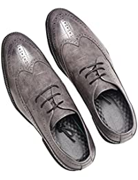 Men's Classic British Style Leather Oxford Flats Shoes Gray and Yellow Plus Size