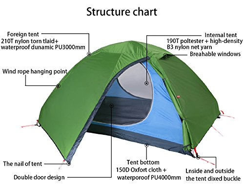 Track Man - 2 Person Tent Double Layer - 3 Season - 2 doors - Outdoor Camping Tent with Carry Bag