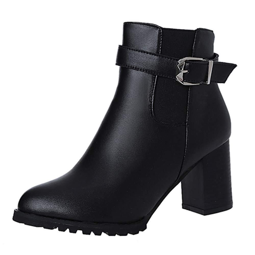 6c3d620bb88e6 Amazon.com : Women Winter Ankle Boots Side Zipper Casual Vintage ...