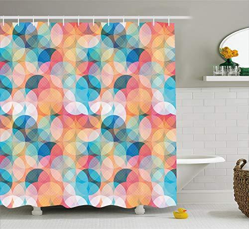 Ambesonne Geometric Shower Curtain, Soft Toned Hazy Overlap Circles Mosaic Birthday Party Pastel Design, Cloth Fabric Bathroom Decor Set with Hooks, 70