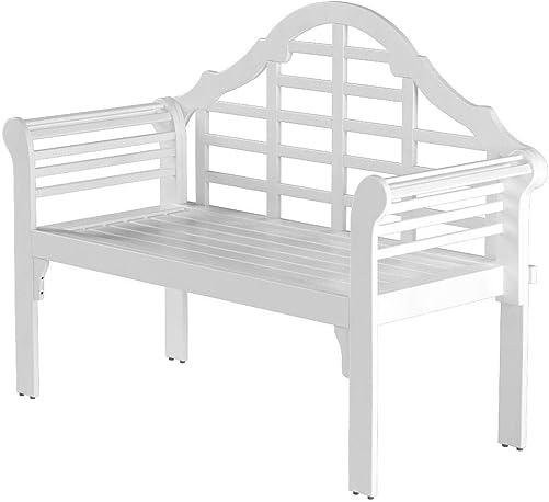 Plow Hearth 62A79-WH Lutyens Eucalyptus Wood Garden Bench
