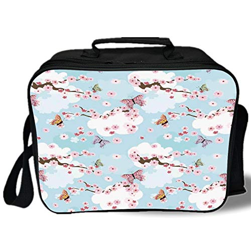 Insulated Lunch Bag,Japanese,Spring Flower with Birds and Butterflies Freshening Sublime Sky Scenery Charm Print,Pink Blue,for Work/School/Picnic, Grey
