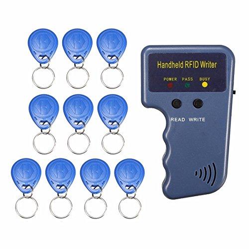 SMALL-CHIPINC - RFID 125KHz ID Card Copier Duplicator Handheld Writer Programmer Reader + 10X Tags ID Keyfobs EM4100 EM410X Sale