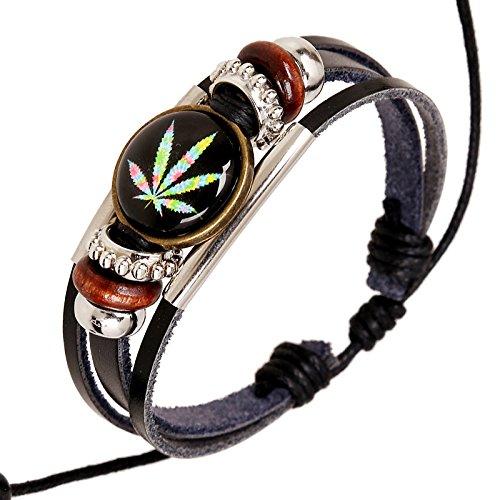 D.B.MOOD Adjustable Genuine Leather Bracelet - Marijuana Weed Leaf