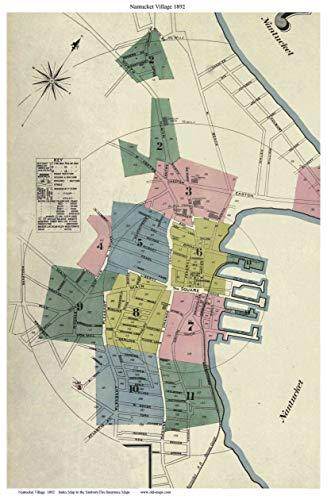 Nantucket Village 1892 Sanborn Fire Insurance Index Map Reprint