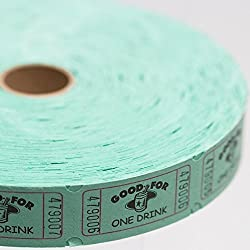 Green Good For One Drink Ticket Roll by Century Novelty