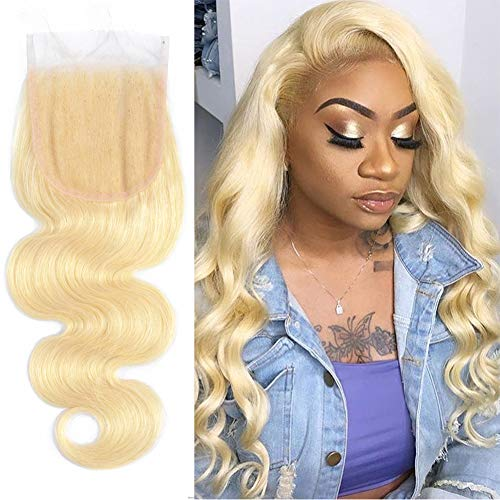 Blonde Closure Body Wave Lace Front Closure With Baby Hair Preplucked 130% Density Peruvian Hair Sew In Human Hair Extensions #613 Color 12 Inch