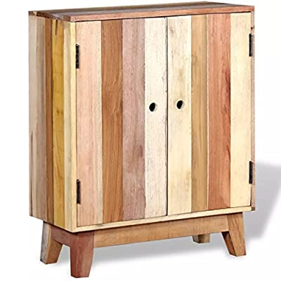 """Festnight Industrial Buffet Sideboard Solid Reclaimed Wood 23.6"""" x 11.8"""" x 30"""" - This antique-style reclaimed side cabinet, coming with 2 doors and 2 shelves, offers you ample storage space and helps you to maintain your items in great order.It can also be used as a side table, sideboard, high board, console table, etc. This storage cupboard is made of solid reclaimed wood, which means that every piece of furniture is unique and slightly different from the next. Furniture made from reclaimed wood has the characteristics of different woods like sheesham, teak, mango wood and acacia. Reclaimed wood is solid, stable, durable, and beautiful. - sideboards-buffets, kitchen-dining-room-furniture, kitchen-dining-room - 51aEM5Ndz7L. SS400  -"""