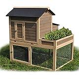 Large Galvanized Chicken Coop Rabbit Hutch Hen Guinea Pig with Planter Box