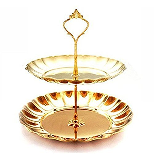 2-Tier Cupcake Stand NHSUNRAY Round Stainless Steel Dessert Stand Cake Stand Wedding Parties Birthday Tea Party Serving Platter (2-Tier, gold)