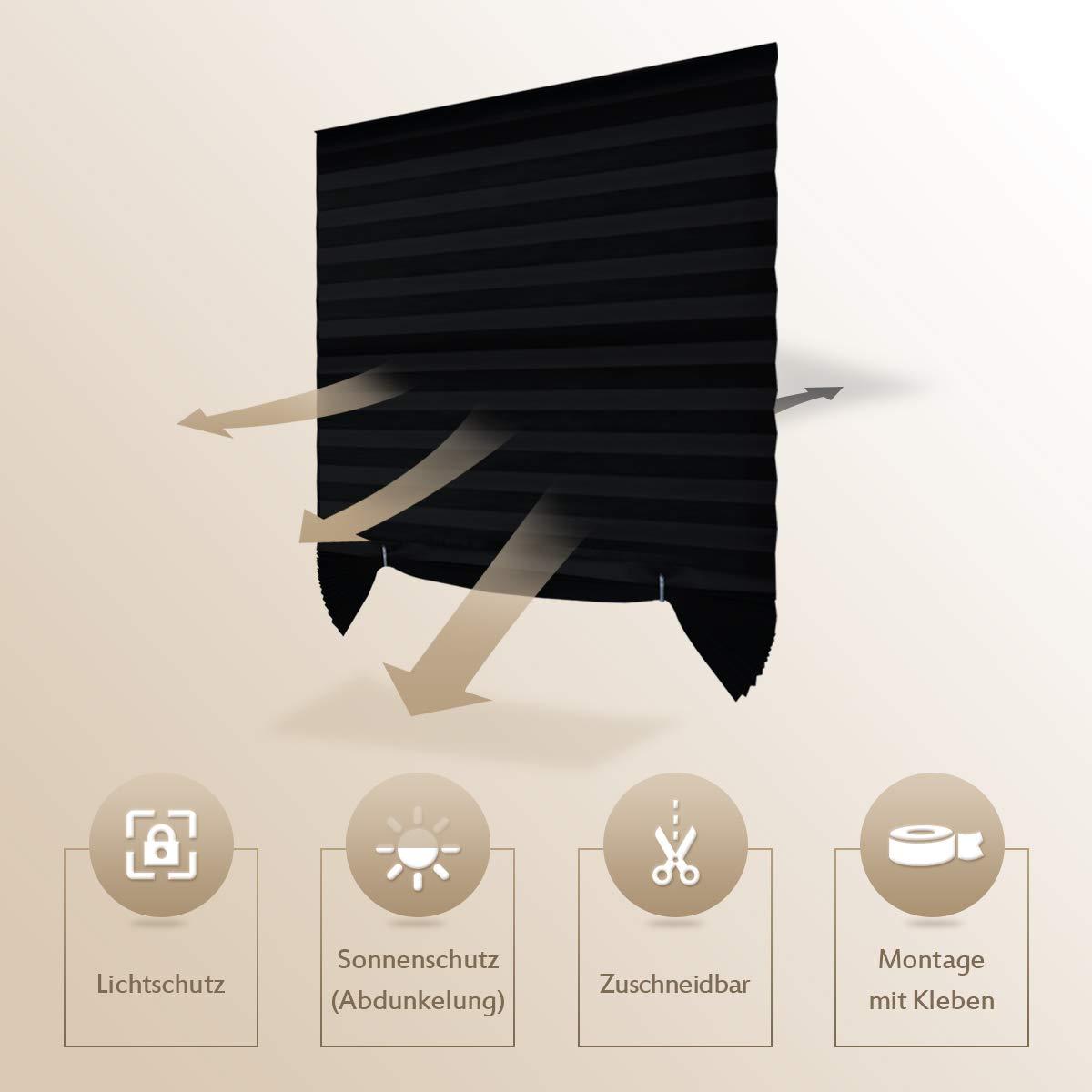 BxH HoHouse Plissee mit Kleben Zuschneidbar Faltrollo ohne Bohren ohne Klemmtr/ägern Licht-und Sohneschutz -1er Pack Beige-110x182cm