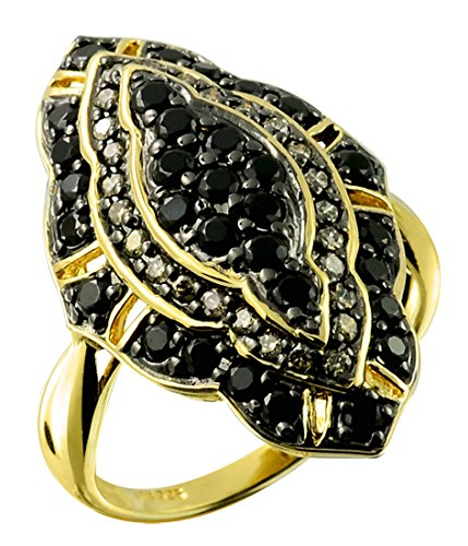 1.29 Carats Black Onyx with Champagne Diamond Gold-Plated 925 Sterling Silver Cluster Ring (7) by RB Gems