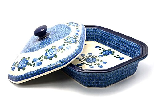 Polish Pottery Baker - Rectangular Covered - Large - Blue Poppy ()