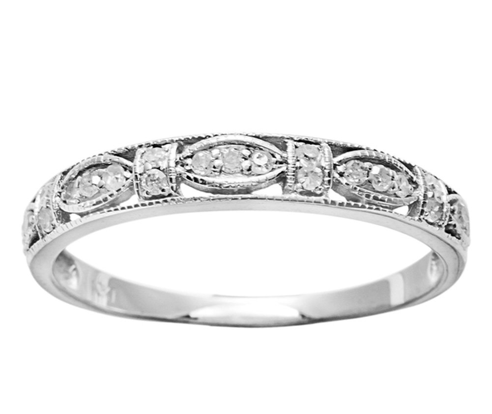 10k White Gold Vintage Style Diamond Anniversary Ring (1/6 cttw, I-J Color, I2-I3 Clarity) by Instagems