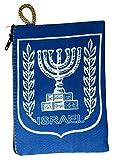 """Israel Knesset Menorah Symbol Jewish Blue Pouch Bag Banner Case Jerusalem 5.7"""""""
