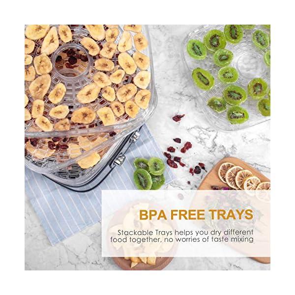 Essiccatore frutta e verdura OSTBA,5 vassoi,Disidratatore per Alimenti,Essiccatore Alimentare,Temperatura regolabile(35… 6