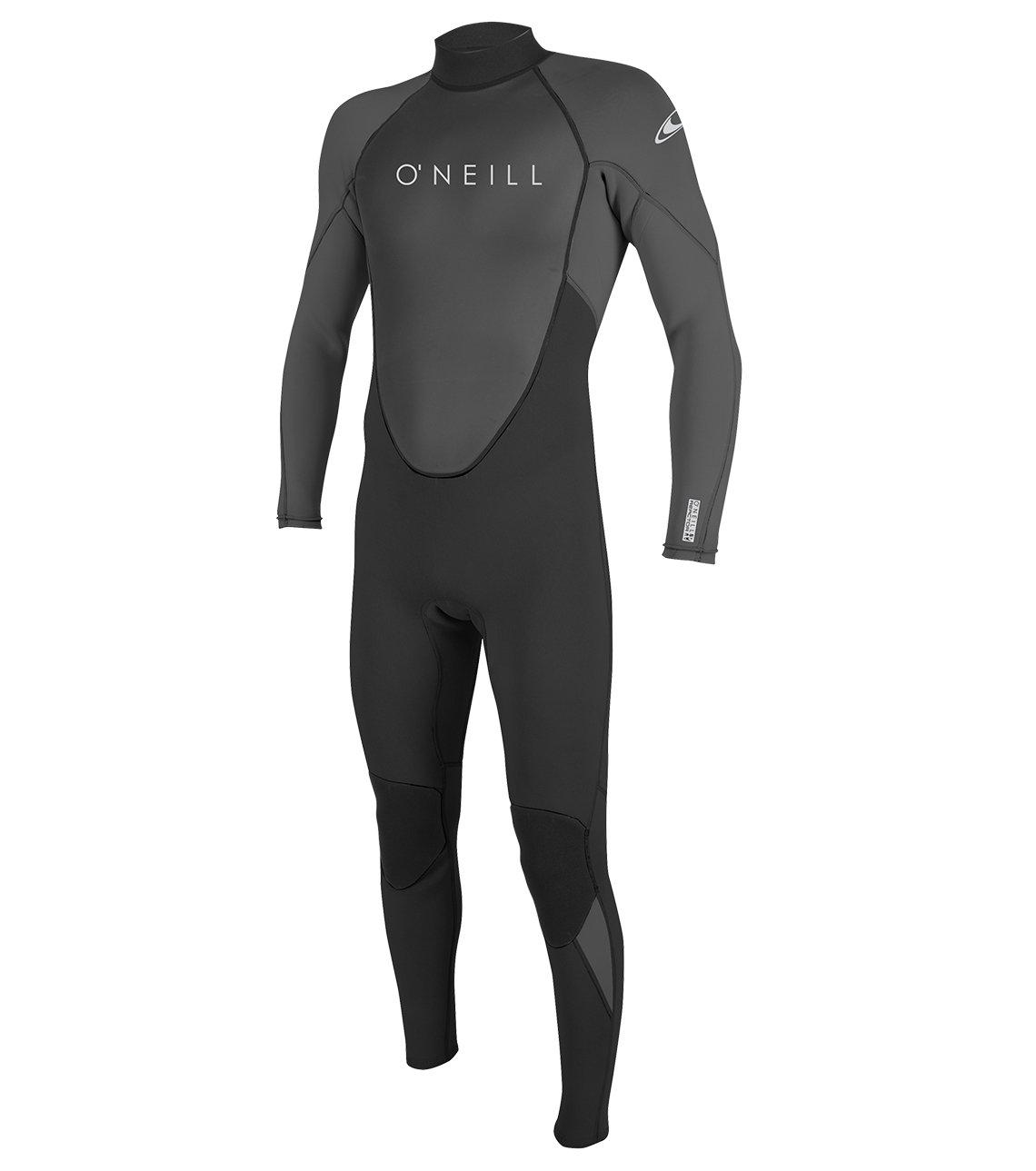 O'Neill Men's Reactor II 3/2mm Back Zip Full Wetsuit, Black/Graphite, Medium Tall