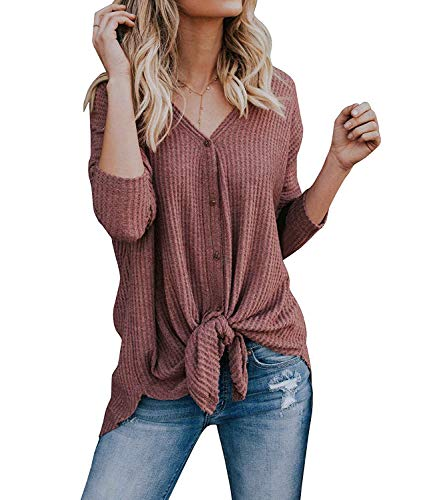 Fantastic Zone Womens Waffle Knit Button Tunic Blouses Tie Knot Henley Tops Loose Plain Shirts