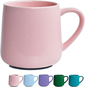 Glossy Ceramic Coffee Mug, Pink Tea Cup for Office and Home, 18 oz, Dishwasher and Microwave Safe, 1 Pack (Pink)