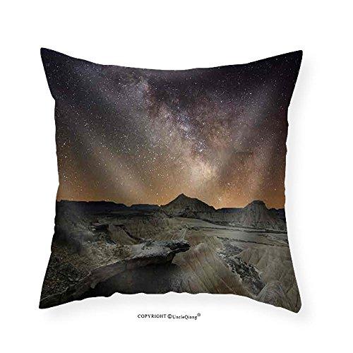 VROSELV Custom Cotton Linen Pillowcase Milky Way over the Desert of Bardenas Spain - Fabric Home Decor 18''x18'' by VROSELV