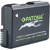Für Nikon D3100 D3200 D3300 D5100 D5200 D5300 und Coolpix P7800 P7700 (inkl. Update 1.3)  PATONA Premium Qualitätsakku für Nikon EN-EL14 EN-EL14a  / Intelligentes Akkusystem / echte 1100mAh