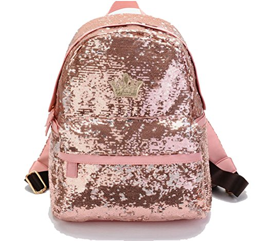 Ebroidered Women Shoulder School Handbags Sequin Backpack Pink Paillette Bling Glitter Backpack BlueField IOFfwRqdq