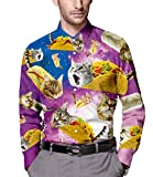 Men's Galaxy Taco Cat Printed Slim Fit Long Sleeve Casual Button Down Dress Shirt M