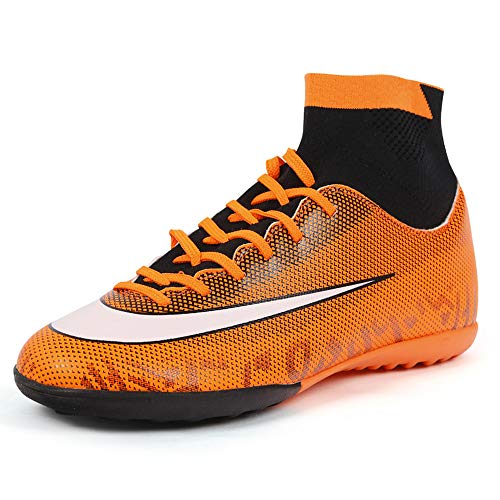 Zhenzu Soccer Cleats Turf Indoor Football Shoes High Top Sock Shock Buffer Outdoor for Toddler Training AG (2.5 M Kid, Orange)