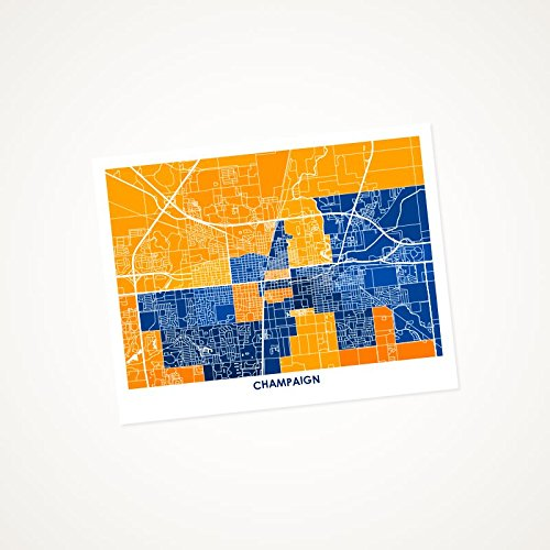 Amazon Com Champaign Illinois Art Map Print Choose Your Colors And