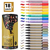 Metallic Marker Pens Set of 18 Colors Paint Markers for Card Making Rock Painting DIY Photo Album Scrapbook Crafts Metal Wood Ceramic Glass