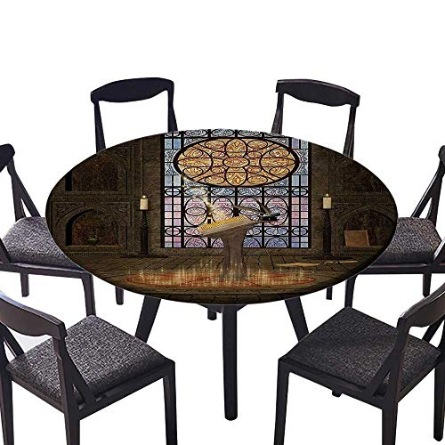 Round Table Tablecloth Lectern Pentagram Symbol Medieval Architecture Candlelight in Dark Spell Everyday Use 31.5
