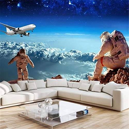 Yonthy 3D Mural Wall Sticker Wallpaper Living Room Bedroom Decoration Stereo Ceiling Space Universe Children Starry Sky Planet Astronaut Aircraft 350Cmx250Cm
