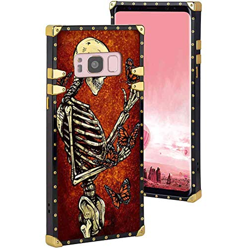 (Suger Skull Butterfly Square Edge Cover Case Fit for Galaxy S8 5.8)