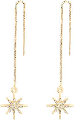 Women Luxury Crystal Snowflake Flashing Dangle Drop Stud Earrings Ear Jewellery