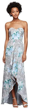 0f23ce99ee Chiffon Long Floral Bridesmaid Dress with High-Low Hem Style F19262P ...