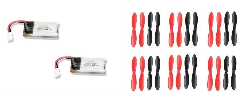 Ares Ethos QX 75 [QTY: 2] 3.7v 350mAh 25c Lipo Battery Rechargeable Power Pack HM-V100D03BL-Z-12 [QTY: 6] Propeller Blades Props Rotor Set Main Black and Red