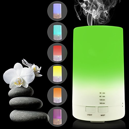 USB Aromatherapy Essential Oil Diffuser - 2.3 oz (70ml) Car Portable Mini Ultrasonic Cool Mist Aroma Air Humidifier - Office Desk Home Travel Gym Yoga Baby Room Bedroom - 7 Color LED Lights and Timer