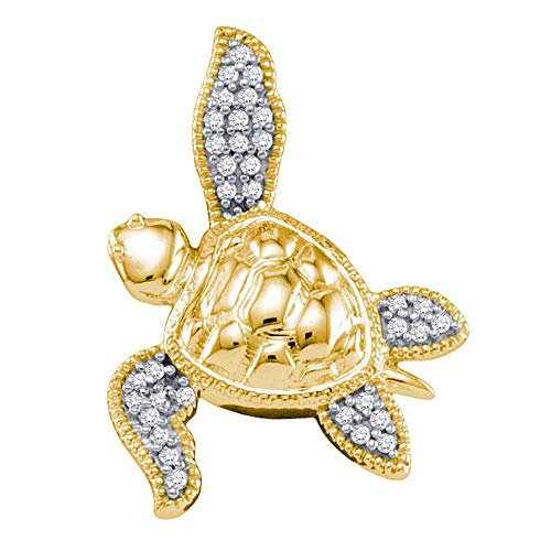 Shell Diamond Yellow - Jewels By Lux 10k Yellow Gold Diamond Womens Sea Turtle Tortoise Animal Shell Pendant 1/10 Cttw In Pave Setting (I2-I3 clarity; H-I color)