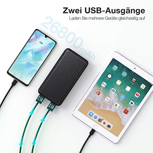 IEsafy Powerbank 26800mAh Power Bank, Tragbares Ladegerät, Externer Akku, Zwei USB-Ausgänge, Typ-C- und Micro-USB-Eingang, Kompatibel für Huawei Xiaomi Redmi Samsung iPad und Mehr Smartphone